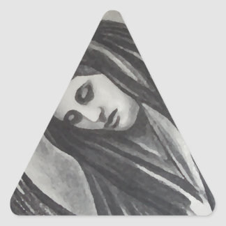 Madonna Ave Maria Mary Grey White Charcoal Triangle Sticker