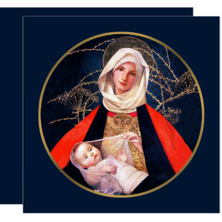 Madonna by M. Stokes. Religious Christmas Card