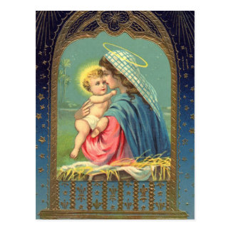 Madonna & Child Christmas Holiday Postcard