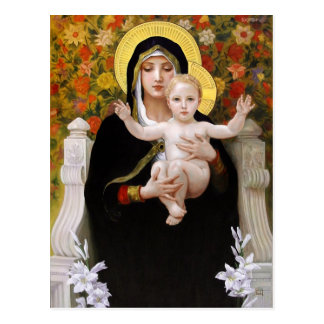 Madonna + child, white lillies christmas postcards