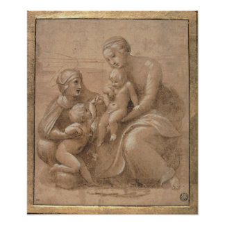 Madonna col bambino san giovannino e Sant Elisabet Poster
