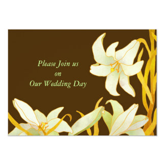 Madonna Lilies Brown Fall Wedding Invitations
