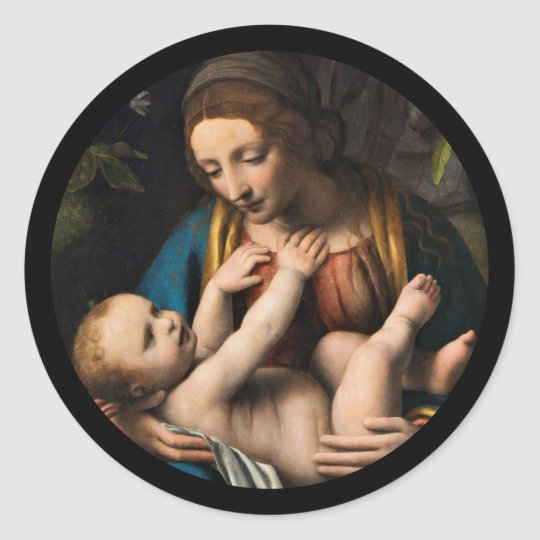 Madonna med  Kristusbarnet Classic Round Sticker