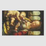 Madonna of the Carnation by Leonardo da Vinci Rectangular Stickers