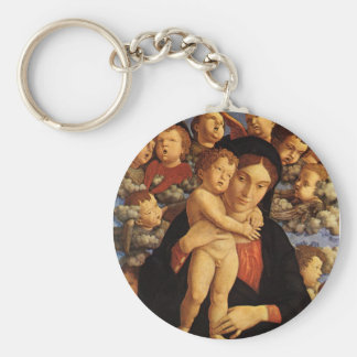 Madonna of the Cherubim by Andrea Mantegna Basic Round Button Keychain