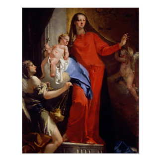 Madonna of the Rosary (oil on canvas) Poster