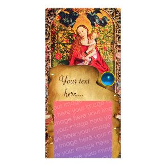 MADONNA OF THE ROSE BOWER PARCHMENT Blue Gem Photo Card