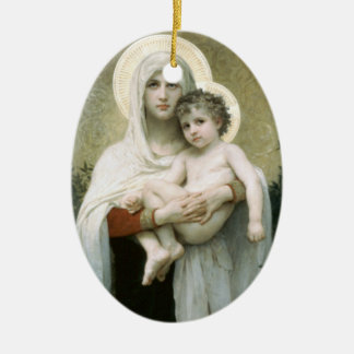 Madonna of the Roses Ceramic Oval Ornament