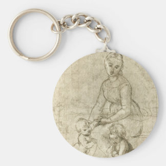 Madonna w Christ & St. John the Baptist by Rapahel Basic Round Button Keychain