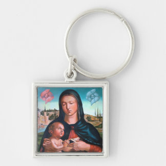 Madonna with Cherubs Silver-Colored Square Keychain