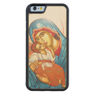 Madonna with Jesus Byzantine Religious Icon gold Carved Maple iPhone 6 Bumper Case