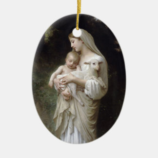 Madonna with Lamb - Bouguereau Ceramic Oval Ornament