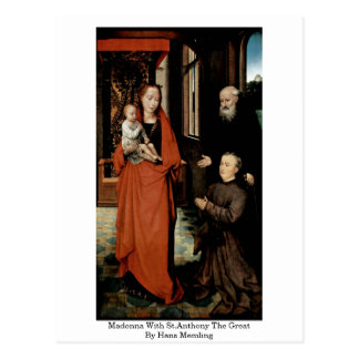 Madonna With St.Anthony The Great By Hans Memling Postcard