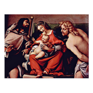 Madonna With St. Roch And St. Sebastian By Lotto L Postcard