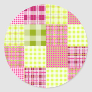 Madras Inspired Plaid Patchwork Sticker