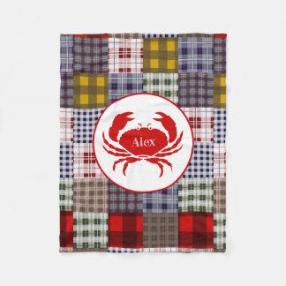 Madras Plaid Crab Fleece Blanket
