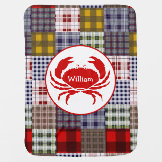 Madras Plaid + Crab Personalized Baby Blanket