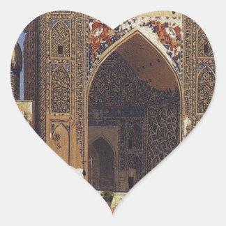 Madrasah de Shir Dor dans le carré de Registan à Sticker Cœur