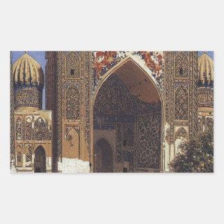 Madrasah de Shir Dor dans le carré de Registan à Sticker Rectangulaire