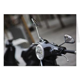 Madrid, black Vespa scooter Card