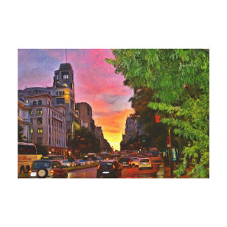 Madrid. Colorful sunset over the Gran Vía. Canvas Print