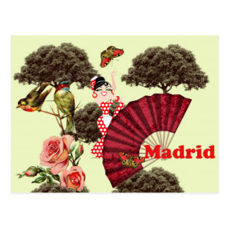 Madrid flamenco Spain small birds and roses Postcard