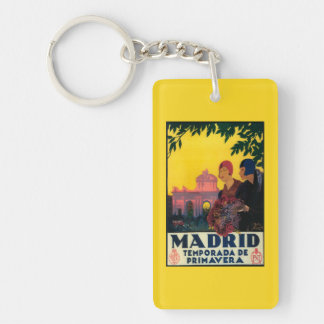 Madrid in Springtime Travel Promotional Poster Keychain