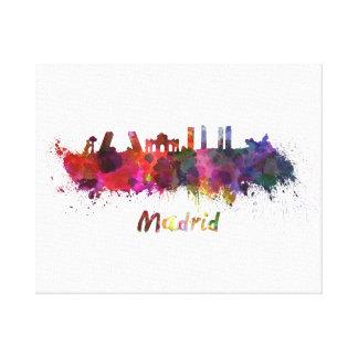 Madrid skyline in watercolor canvas print