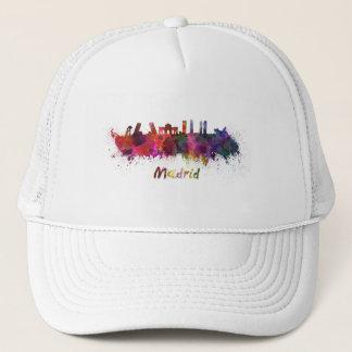 Madrid skyline in watercolor trucker hat