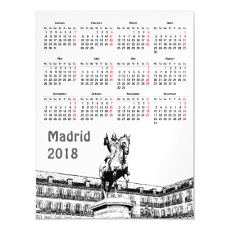 Madrid, Spain 2018 calendar magnetic card