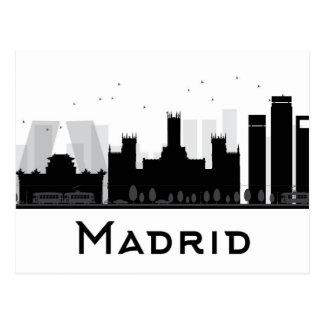 Madrid, Spain | Black & White City Skyline Postcard