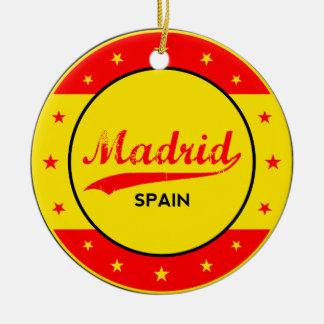 Madrid, Spain, circle, red Ceramic Ornament