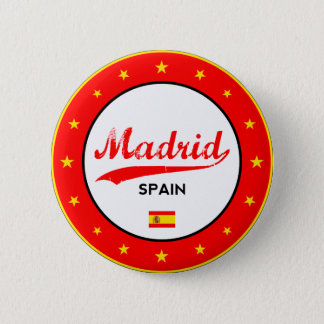 Madrid, Spain, circle, white 2 Inch Round Button