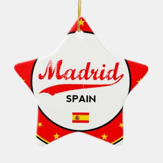 Madrid, Spain, circle, white Ceramic Ornament