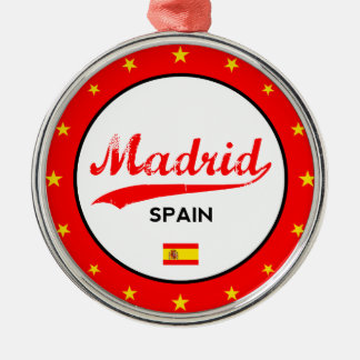 Madrid, Spain, circle, white Metal Ornament