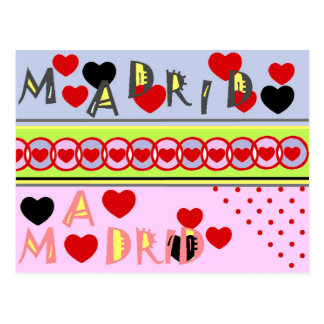 Madrid Spain funny hearts Postcard