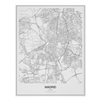 Madrid, Spain Minimalist Map Poster