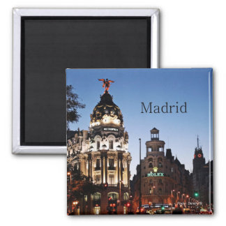 Madrid Spain Nighttime Scene Travel Magnets