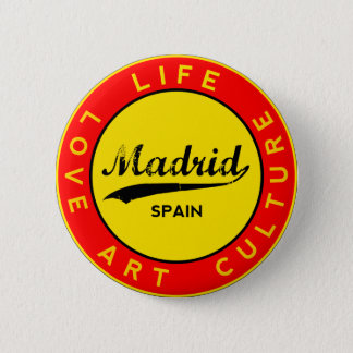 Madrid, Spain, red circle, art 2 Inch Round Button