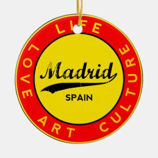 Madrid, Spain, red circle, art Ceramic Ornament