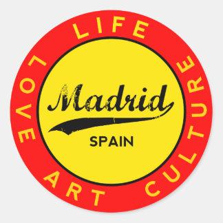 Madrid, Spain, red circle, art Classic Round Sticker