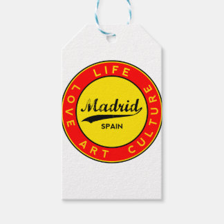 Madrid, Spain, red circle, art Gift Tags