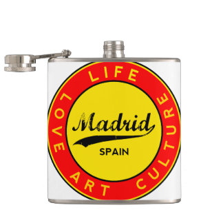 Madrid, Spain, red circle, art Hip Flask