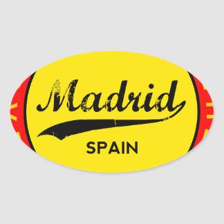 Madrid, Spain, red circle, art Oval Sticker