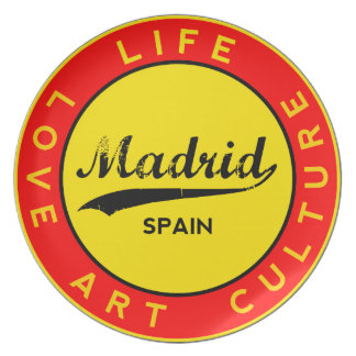 Madrid, Spain, red circle, art Plate