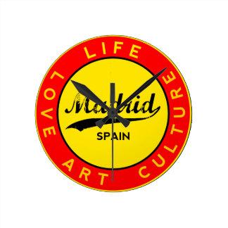 Madrid, Spain, red circle, art Round Clock