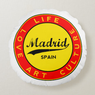 Madrid, Spain, red circle, art Round Pillow
