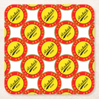 Madrid, Spain, red circle, art Square Paper Coaster