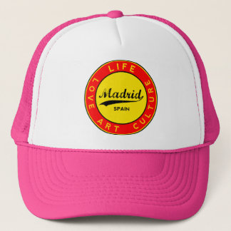 Madrid, Spain, red circle, art Trucker Hat