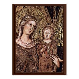 Maestà Madonna Enthroned As The Patron Saint Postcard
